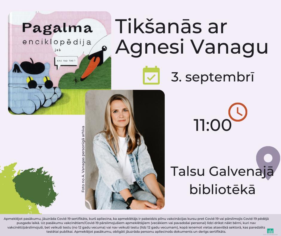"""Tikšanās ar Agnesi Vanagu un grāmatu """"Pagalma enciklopēdija"""""""