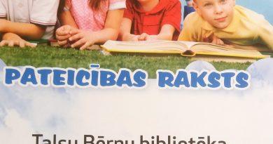 Talsu bērnu bibliotēka un jaunie lasītāji saņem Zvaigzne ABC pateicību