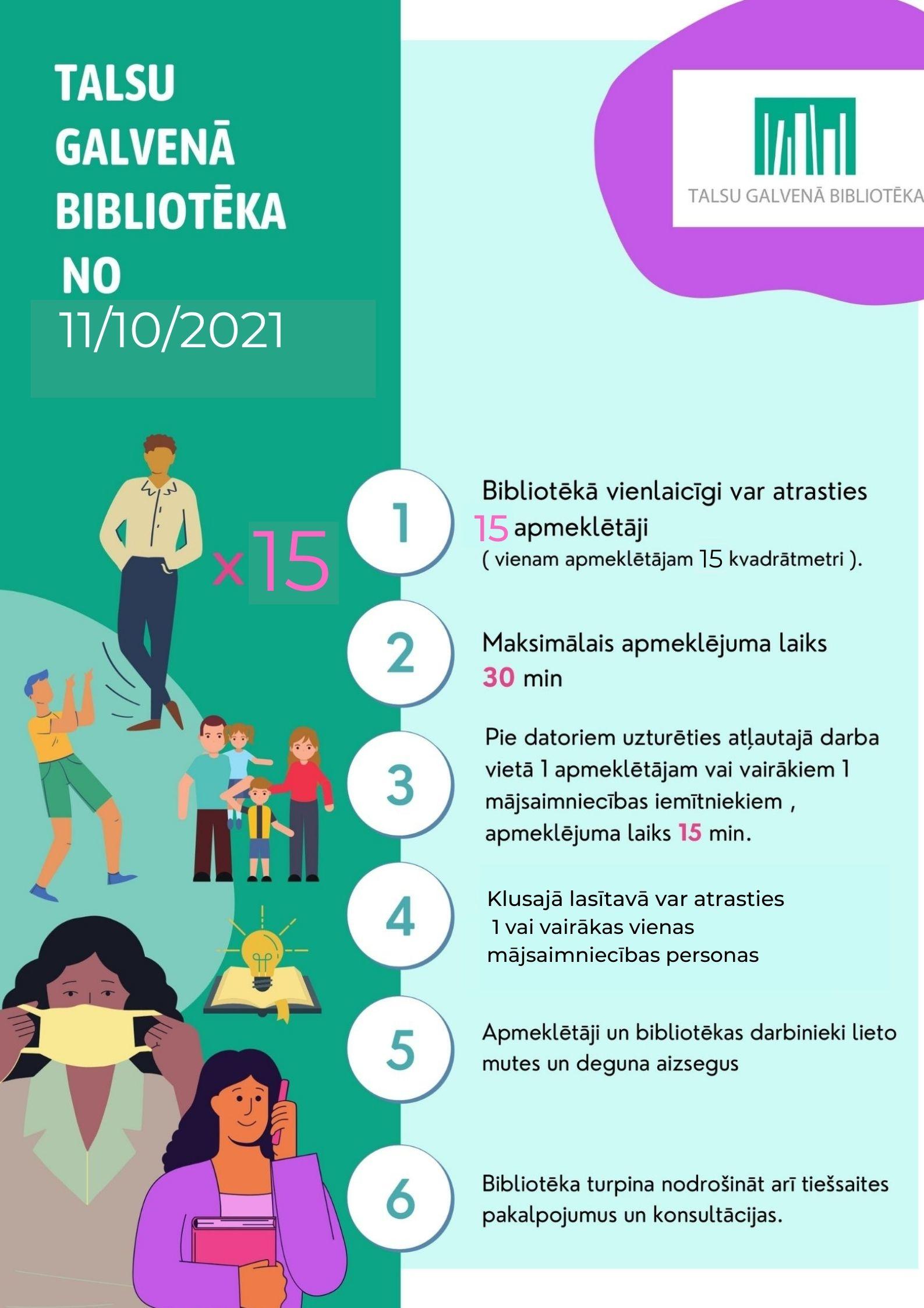 Talsu Galvenās bibliotēkas apmeklēšanas noteikumi no 11. oktobra
